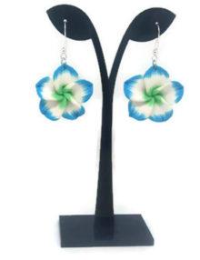 Gyurma virág fülbevaló - cirmos kék