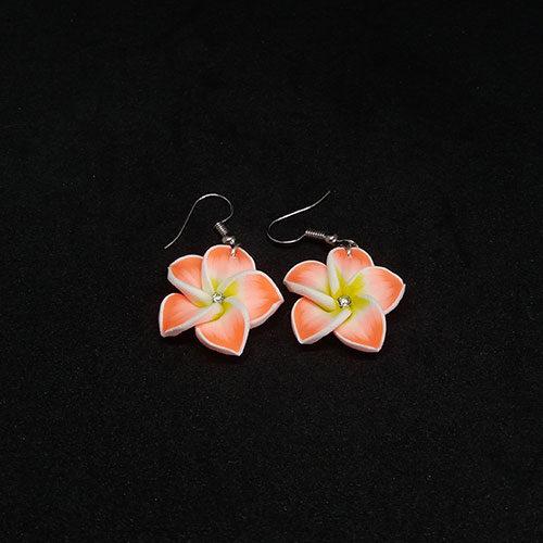 Virágos lógós fülbevaló kicsi - klasszik narancssárga