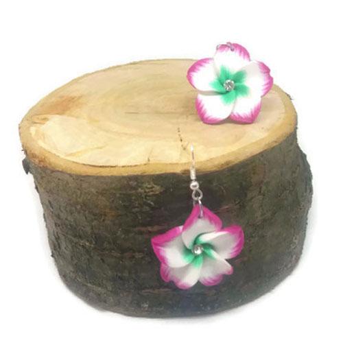 Virágos lógós fülbevaló - cirmos rózsaszín