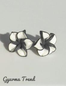 Gyurma trend - bedugós fülbevaló színes szélű fekete