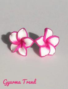 Gyurma trend - bedugós fülbevaló színes szélű lilás rózsaszín