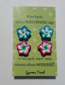 Gyurma Trend - testvér fülbevaló cirmos kék/rózsaszín