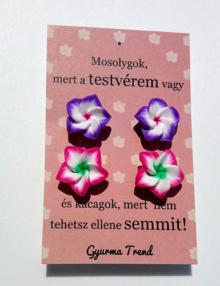 Gyurma Trend - testvér fülbevaló cirmos lila/rózsaszín