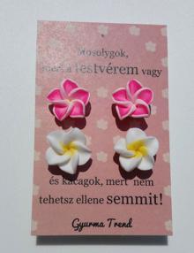 Gyurma Trend - testvér fülbevaló világos rózsaszín/fehér